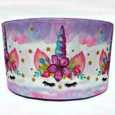 "Grosgrain Ribbon 5/8"", 7/8"", 1.5"", 3"" Unicorns Printed S1F Purple Spring Summer"
