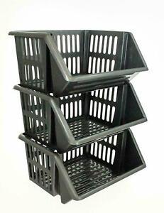 Vegetable Fruit Storage Basket Kitchen Stacking Stackable 3 units Rack Tidy Tier