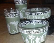 Vintage 4 pc  Jeanette Wedgewood Green Jasperware Hellenic Greek/Roman Set