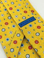 "BVLGARI Mens Tie 100% Silk 7 Fold Necktie 61"" Pizzigoni Yellow Dream Catcher"