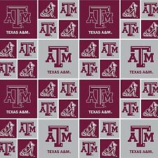 Texas A & M Fabric-Burgundy & White Block Design-BTY-Logo-Dog