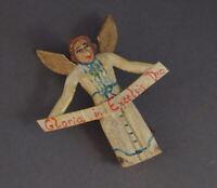 Grulicher Krippenfigur, Verkündigungsengel, Holz geschn.  > 7 cm <   (# 10954)
