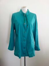 Blue Illusion size L green cotton & elastane button down top with long sleeves