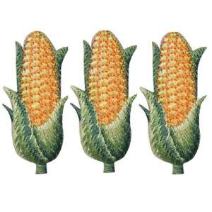 "Corn Applique Patch - Cob, Husk, Ear of Corn 1.5"" (3-Pack, Iron on)"