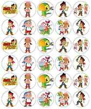 30 Jake And The Neverland Pirates Cupcake Toppers Wafer Paper Fairy Cake Toppers
