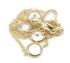 "White Topaz Round 61/2"" Bracelet,18K Yellow Gold Chain & Lobster Lock"