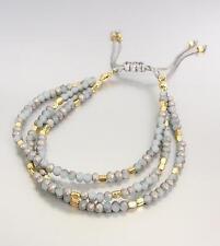 Urban Anthropologie 3 Strands Blue Semi Precious Stones Gold Pull Tie Bracelet