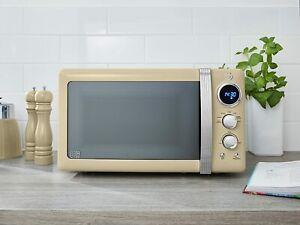 Swan 800W 20L Retro Classic Digital Microwave Cream 5 Speed + Defrost Setting'