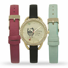 New Ladies Gold Interchangeable Hand Watch Set Owl Women Lady christmas Gift