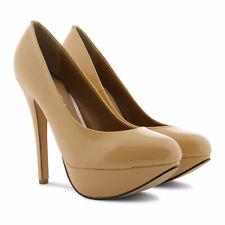 Ravel 'Halo' Nude Patent Real Leather Stiletto High Heel Platform Court Shoe UK8