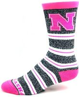 Nebraska Cornhuskers NCAA Gray Marbled Pink Melange Stripe Crew Socks