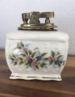 Vintage Handpainted Cigarette Lighter Japan Dainty Flowers Gold Trim