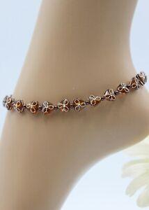 Glass Jewellery XXL Stainless Steel Silver Anklet Bracelet Beads Acrylic Braun #