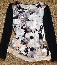 DKNY Floral Multicolor Blouse Shirt Top Asymmetric Hem M NWT!! $89
