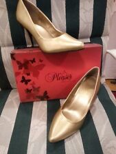 "QUICK SALE Men's size 8 UNISEX wmn's 10 Pleaser USA GOLD 4"" heel pumps Van420"