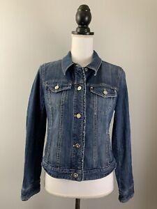 WHITE HOUSE BLACK MARKET Denim Jeans Jacket Blue Trucker Women's Size 8