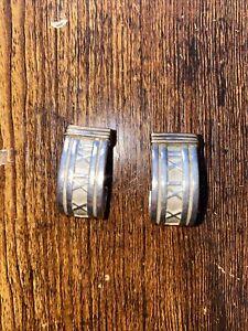 """Tiffany & Co. Sterling Silver 18k Gold Atlas J Hoop Earrings 1995 1"""" 18g"""