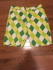 Loudmouth Shorts Size 33 Cotton Lycra A Tisket A Tasket Yellow White Green