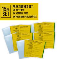 SECO Impfpass-15er Set 5X Impfausweis 5X Notfallausweis, Notfallpass 5X Schutzhü