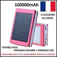 SOLAR EXTERNAL CHARGER BATTERY + LED PANEL 100000 mAh POWERBANK USB 2.1A 1A E