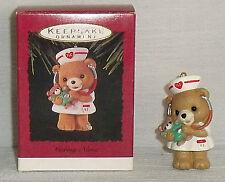 "Hallmark Ornament CARING NURSE + Box 1993 Teddy Bear 2"""
