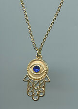 Yellow Gold Plated, Hamsa & Crystal Evil Eye Pendant Necklace