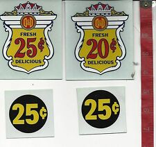 Vintage lot display decals D & D vending machine gum coffee Free Shipping