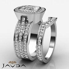 Ring Gia I Si1 Platinum 3.3 ct Halo Cushion Diamond Pave Bridal Set Engagement