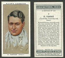 PLAYER'S 1934 CRICKETERS K.FARNES Card No 9 of 50 CRICKET CIGARETTE CARD