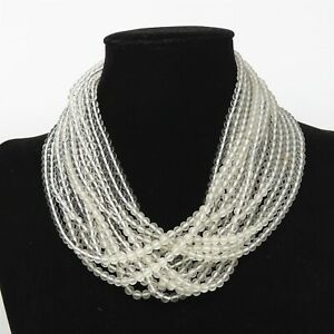 """NYJEWEL Angela Cummings 14 Strands Rock Crystal 16"""" Necklace Silver Clasp"""