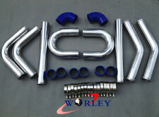 "3"" inch 76mm Aluminum Universal Intercooler Turbo Piping pipe kit+blue hose kits"