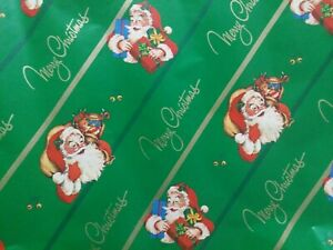 Same Day Ship》SANTA CLAUS MERRY CHRISTMAS GREEN GIFT WRAP PAPER》20 SQ FT🎄 🎁 🎅