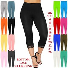 e5aa1b61ef366 Womens Lace Trim Cotton Stretchy 3/4 Length Capri Jegging cropped Leggings  Pants