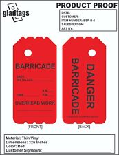 """6"""" Red Danger Barricade Tags (25 Per Pack)"""