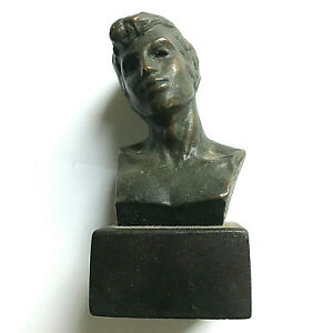 RANDOLPH JOHNSTON Small bronze bust on wood base,1984, excellent cond.