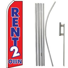 Rent 2 to Own Red Blue Swooper Super Flag & 16ft Flagpole Kit / Ground Spike