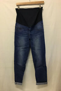 Next Maternity Jeans Relaxed Straight Cropped Fit, Dark Blue UK 12 Short (.005)