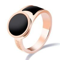 18K Rose Gold Forever Band Rings Women's Titanium Steel Black Enamel Ring Sz 6/7