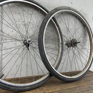 """Vintage Schwinn Wheels S-6 Center Stamped 1966 Sturmey 26"""" 36h Southwest Tires"""