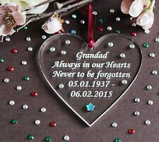 Personalised Memorial Heart Gift 'Grandad Always in our Hearts'