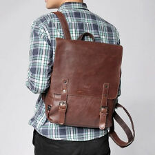 Mens Vintage Faux Lether Backpack Travel Satchel Laptop Rucksack School Bag UK