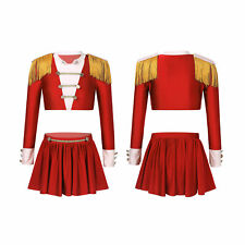 Kids Girls Dance Costume Latin Jazz Dress Outfit Long Sleeves Top Tutu Skirt Set