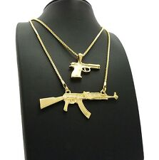 NEW GOLD PLATED HAND GUN & AK47 PENDANT W/ BOX CHAINS HIP HOP NECKLACES SET