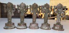 Antique Hand Carved Hindu Goddess Copper Statue Miniature Carved Laxmi Figure #5