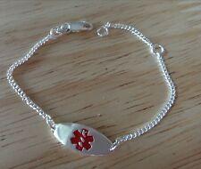 """5-6"""" Adjustable Sterling Silver Baby Child 20x8mm Red Medical Alert Bracelet"""