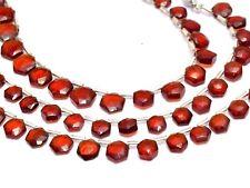 "AAA+ Hessonite Garnet Gemstone 7mm-8mm Faceted Hexagon Briolette Beads|8"" Strand"