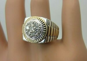 Mens 14K White and Yellow Gold 0.55 CT Diamond Ring Rolex Designer Style Size 8