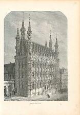 Hôtel de Ville de Louvain/Tour de Jansénius GRAVURE ANTIQUE OLD PRINT 1880