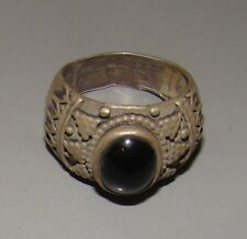 vintage israel sterling silver 925 ring jewelry black stone decorative