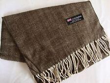 100% Cashmere Winter Scarf Scarve Scotland Warm Herringbone Brown Shawl Neck NEW